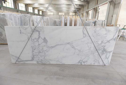 New Calacata Gold marble slabs at MGSI in April