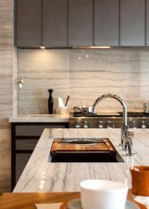 white quartzite kitchen countertop