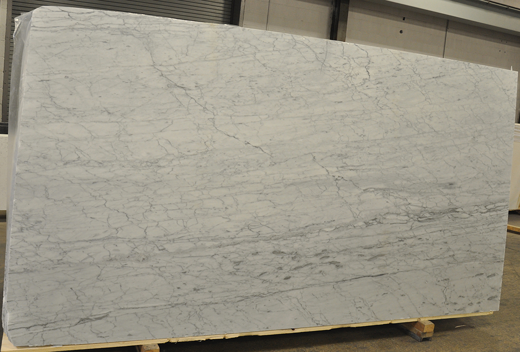white carrara honed marble slab