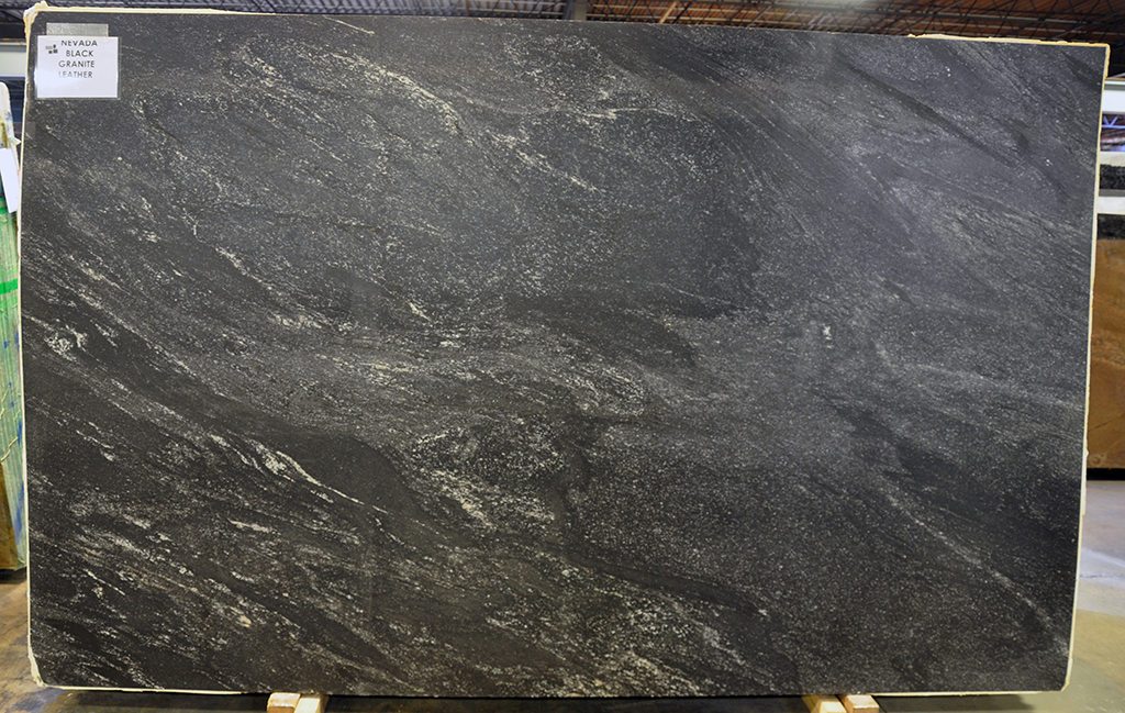 nevada black leather granite slab