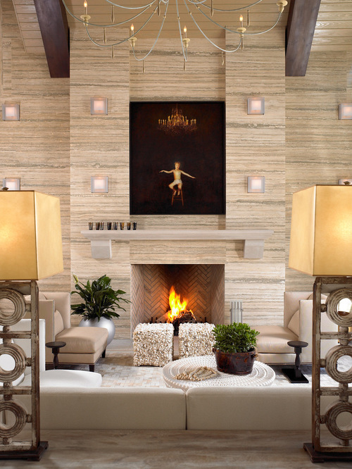 travertine fireplace