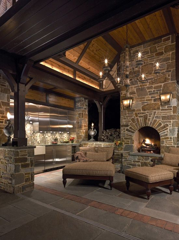 natural stone outdoor kitchen design
