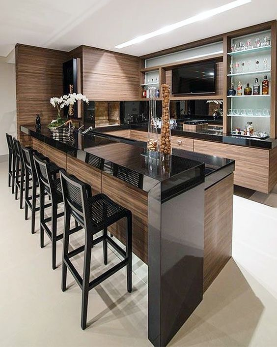 contemporary kitchen - black absolute granite