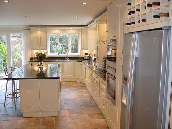 contemporary kitchen - black pearl polished granite
