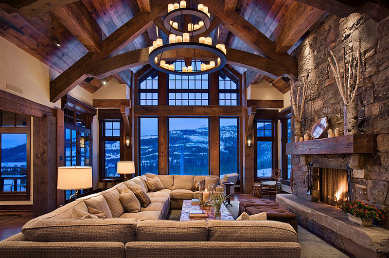 RUSTIC MODERN CABIN Cabin Interior Design Stone Wood Design