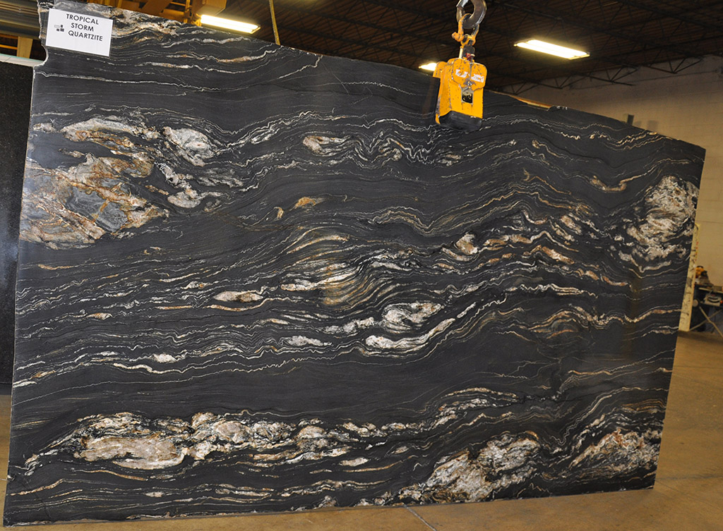 Tropical Storm quartzite slabs