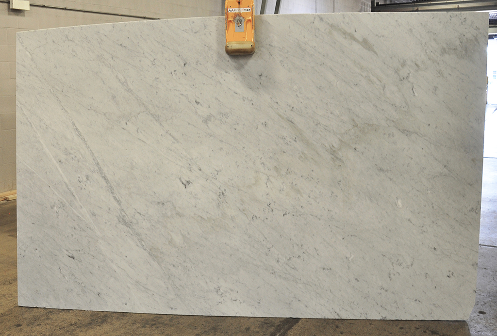 White Carrara marble slab