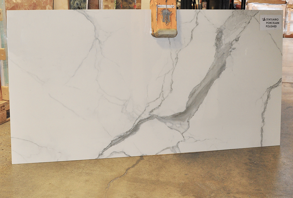 Statuario polished porcelain slabs